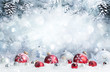 canvas print picture - Merry Christmas - Baubles On Snow With Fir Branches