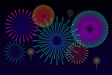 Fireworks Composition Vector Illustration In Flat Design Bright Colorful Fireworks Is Flashing On Dark Blue Background Design Template With Copy Space