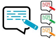 Icono Plano Escribir Mensaje En Burbuja Con Texto Y Lápiz En Varios Colores