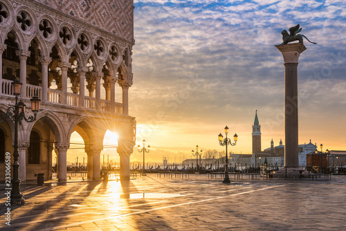 Poster de jardin Venise Sunrise at the San Marco square in Venice, Italy