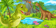Cartoon Scene With Happy Dinos...