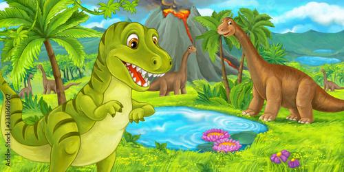 Photo  cartoon scene with happy dinosaur tyrannosaurus rex near erupting volcano and di