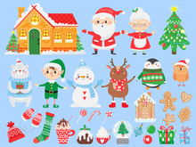 Set Of Christmas And New Year Elements. Santa Claus & Mrs. Claus. Funny Elf, Deer, Bear, Snowman And Penguin. Winter Holidays. Vector Illustration.