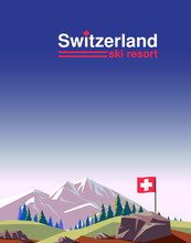 Switzerland Ski Resort Poster ...