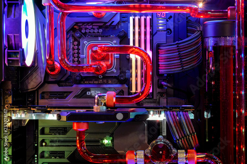 Close-up Desktop PC Gaming and water cooling cpu with LED RGB light