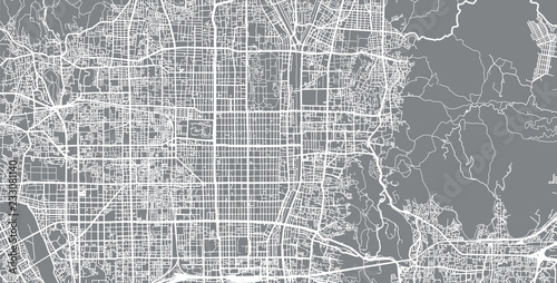 Canvas Print Urban vector city map of Kyoto, Japan