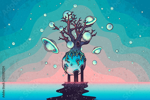 Hand drawn abstract mystery tree on the moon in deep space. Wallpaper Mural