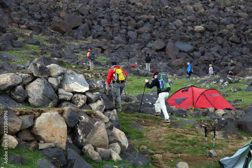 Fototapeta Climbers established tent at Green Camp in Mount Agri (Ararat), Dogubeyazit, Turkey. Mount Agri is the highest mountain in Turkey and it is believed that Noah Ark is there. obraz