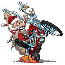 Santa Biker On An American Style Chopper Motorcycle, Popping A Wheelie, Vector Cartoon Illustration