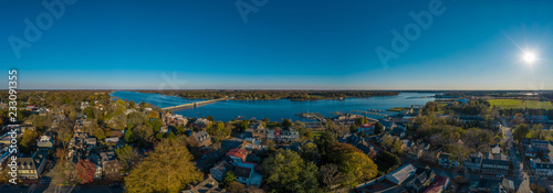 Fényképezés  Aerial panorama view of historic colonial chestertown near annapolis situated on