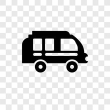 Camper Van Vector Icon Isolated On Transparent Background, Camper Van Transparency Logo Design