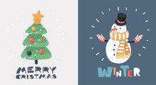 Snowman And Christmas Tree Card