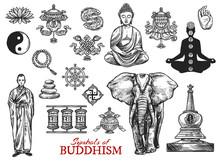 Buddhism Religion Symbols Sketch Vector Icons
