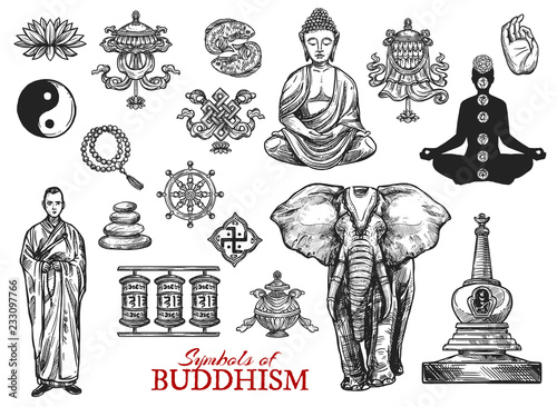Foto Buddhism religion symbols sketch vector icons