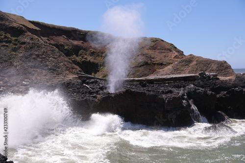 Fotografie, Obraz  Spouting Horn natural phenomena at Cape Perpetua headland