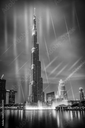 Fototapeta  burj khalifa with fountain show, Dubai, UAE