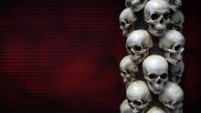 Human Skulls Close-up. Halloween Dia De Los Muertos Celebration. Background. Copy Space.