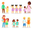 Siblings vector children characters sister brother together sisterly girls and brotherly boys twins in family illustration set of kids in childhood isolated on white background