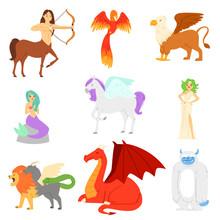 Mythological Animal Vector Mythical Creature Phoenix Or Fantasy Firebird Characters Of Mythology Mermaid Snowman And Griffin Illustration Set Of Cartoon Beasts Isolated On White Background