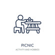 Picnic icon. Picnic linear symbol design from Activity and Hobbies collection.