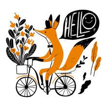 Cute Fox Riding A Bike, Collec...