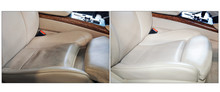 Two Photos In One: A Dirty White Car Seat And Clean The Seat After The Car Wash