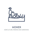 Mower icon. Mower linear symbol design from Agriculture, Farming and Gardening collection.