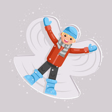 Happy Boy Making Snow Angel Childhood Game Kid Lying Back Moving Arms And Legs Shape Flat Design Vector Illustration