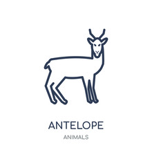 Antelope Icon. Antelope Linear Symbol Design From Animals Collection.