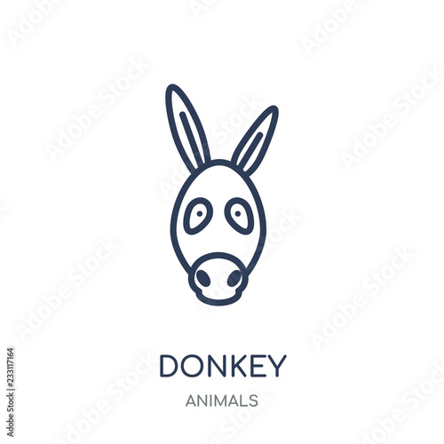 Donkey icon. Donkey linear symbol design from Animals collection. Fototapet
