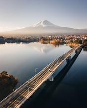 Elevated Road Bridge Over Lake Kawaguchi With Mount Fuji In Background