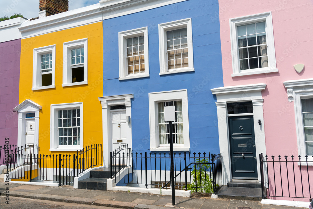 Fototapeta Colorful row houses seen in Notting Hill, London
