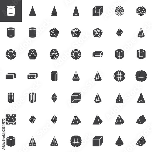 Geometric shapes vector icons set, modern solid symbol