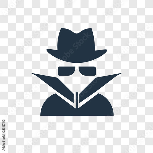 Fotografía  Spy vector icon isolated on transparent background, Spy transparency logo design
