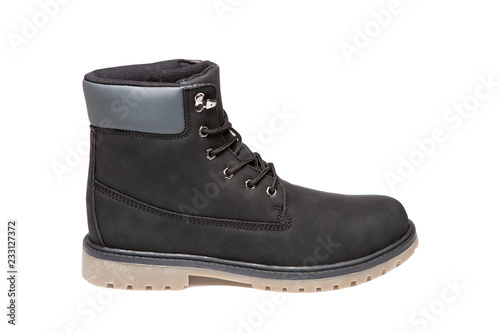 Fotografía  black men's nubuck leather boots, one shoe, on a white background, isolate