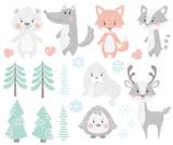 Fototapeta Fototapety na ścianę do pokoju dziecięcego - Reindeer, raccoon, seal, wolf, penguin, bear, fox baby winter set.