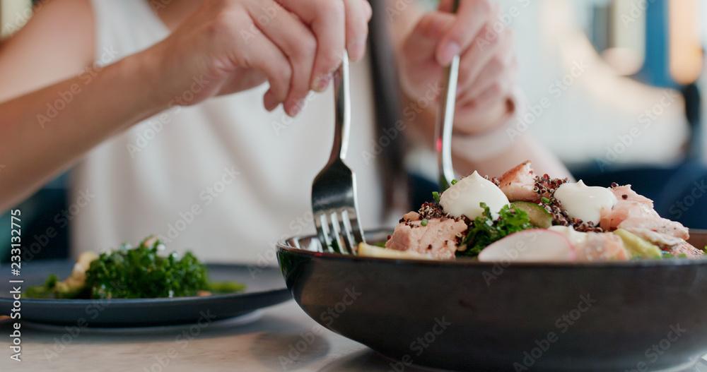 Fototapety, obrazy: Woman enjoy the salad in restaurant