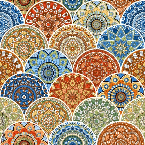Foto auf AluDibond Ziehen Colorful seamless patchwork pattern with mandalas in ethnic style. Decorative ornament.