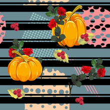 Seamless Floral Patchwork Pattern. Beautiful Red Roses, Pumpkins, Berries And Geometric Shapes. Flower Background For Textile, Cover, Wallpaper, Gift Packaging, Printing.
