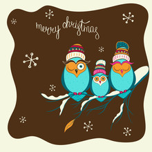 Merry Christmas Card With Cute Cartoon Owls And Snowflakes.