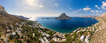 Panoramic Landscape Of Telendos Island In Distance And Part Of Kalymnos Island, Massouri, Greece