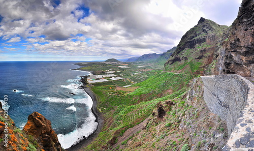 Coast with rocky mountains, Panorama, Tenerife, Canarian Islands