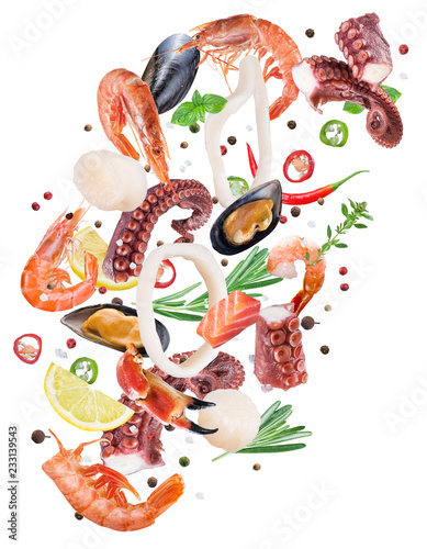 Flying seafood pieces and spices on white background. File contains clipping path.