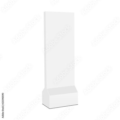 Floor standing promotional vertical totem mock up - side view. Vector illustration Fototapete