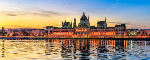 Hungarian Parliament Building by Morning Light (panoramic) Wallpaper Mural