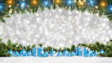 Blue Christmas Baubles And Gifts Lined Up 3D Rendering