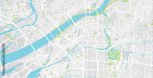 Urban vector city map of Osaka, Japan Wallpaper Mural