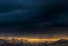Sunrise Over South Tyrolean Mountains With Dark Rain Clouds, Sarntal Alps, San Martino, Sarntal, South Tyrol, Italy, Europe