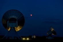 Parabolic Antennas With Blood Moon At Lunar Eclipse, Night Shot, Raisting, Upper Bavaria, Germany, Europe