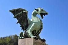 Bronze Statue Of A Dragon On The Dragon Bridge, Zmajski Most, Ljubljana, Slovenia, Europe